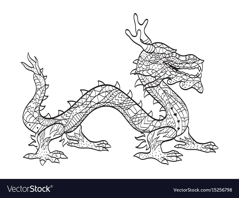 Coloring japanese dragon for adults