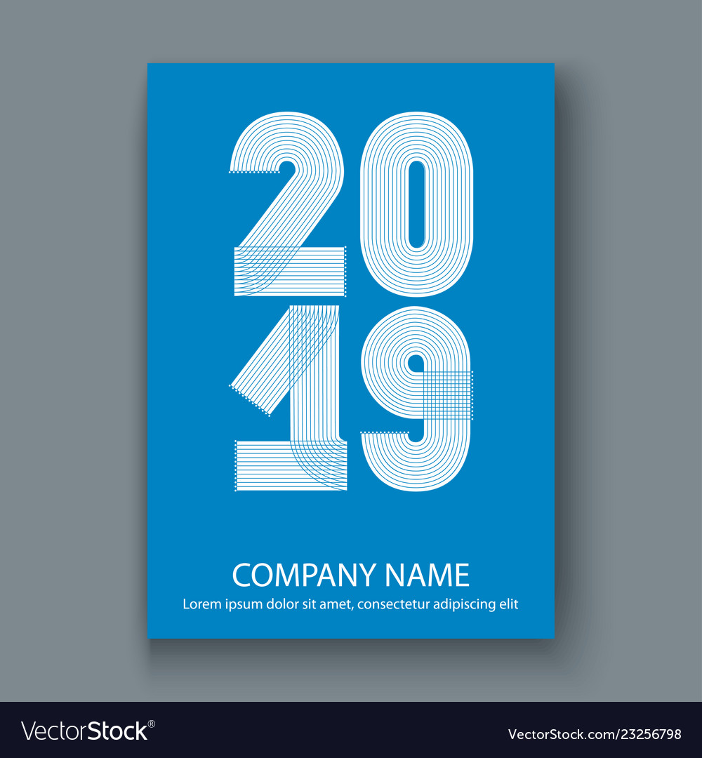 Cover annual report numbers 2019 modern design