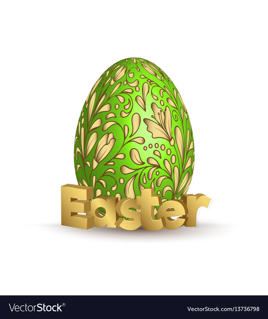 Easter egg icon egg with hand draw golden