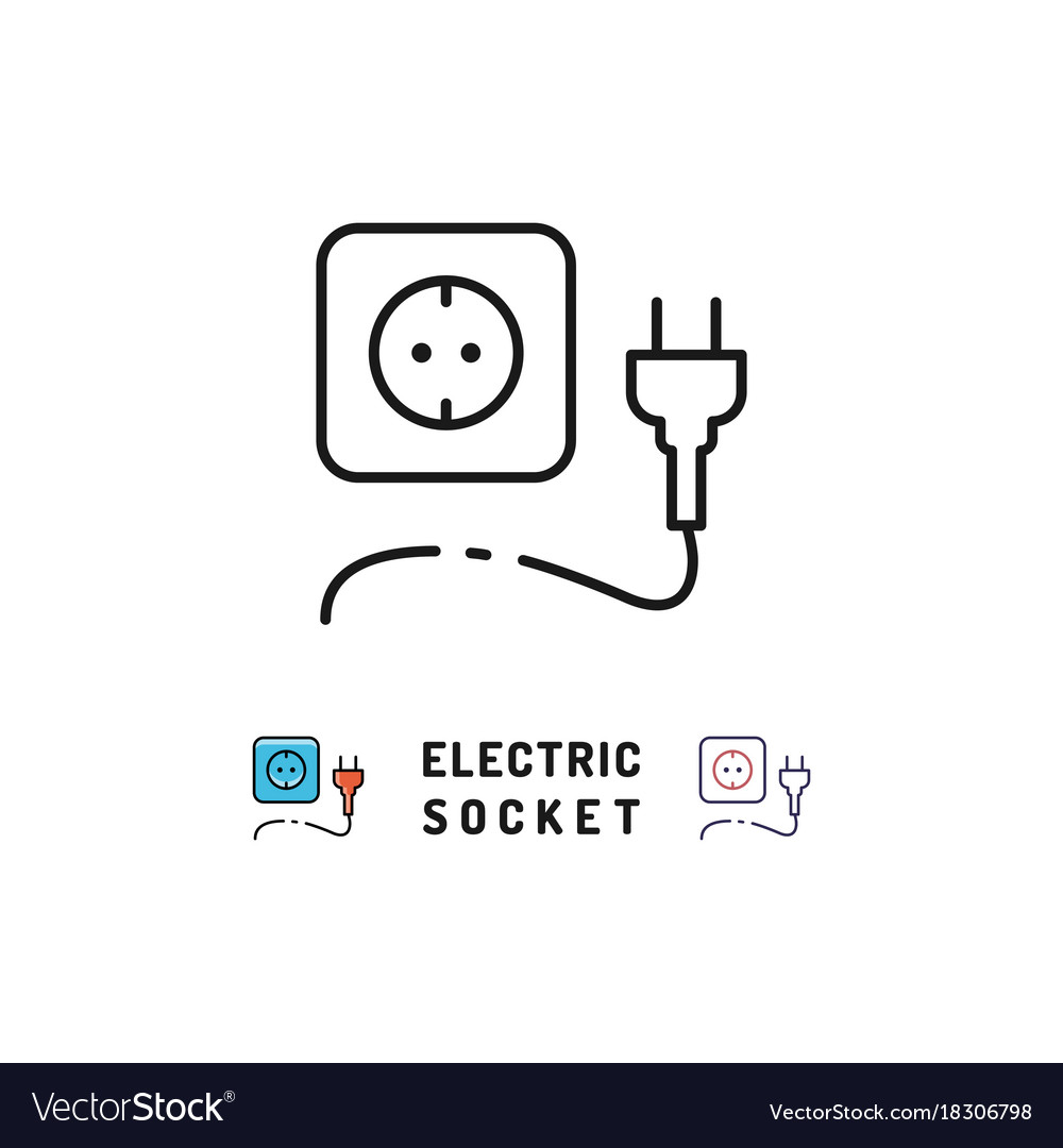 Electric socket and plug icons electricity sign