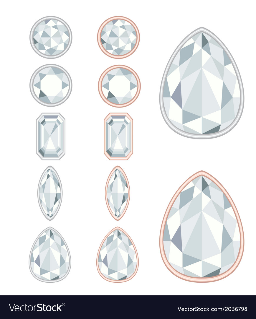 Five forms of diamond cut and two kinds of frames vector image