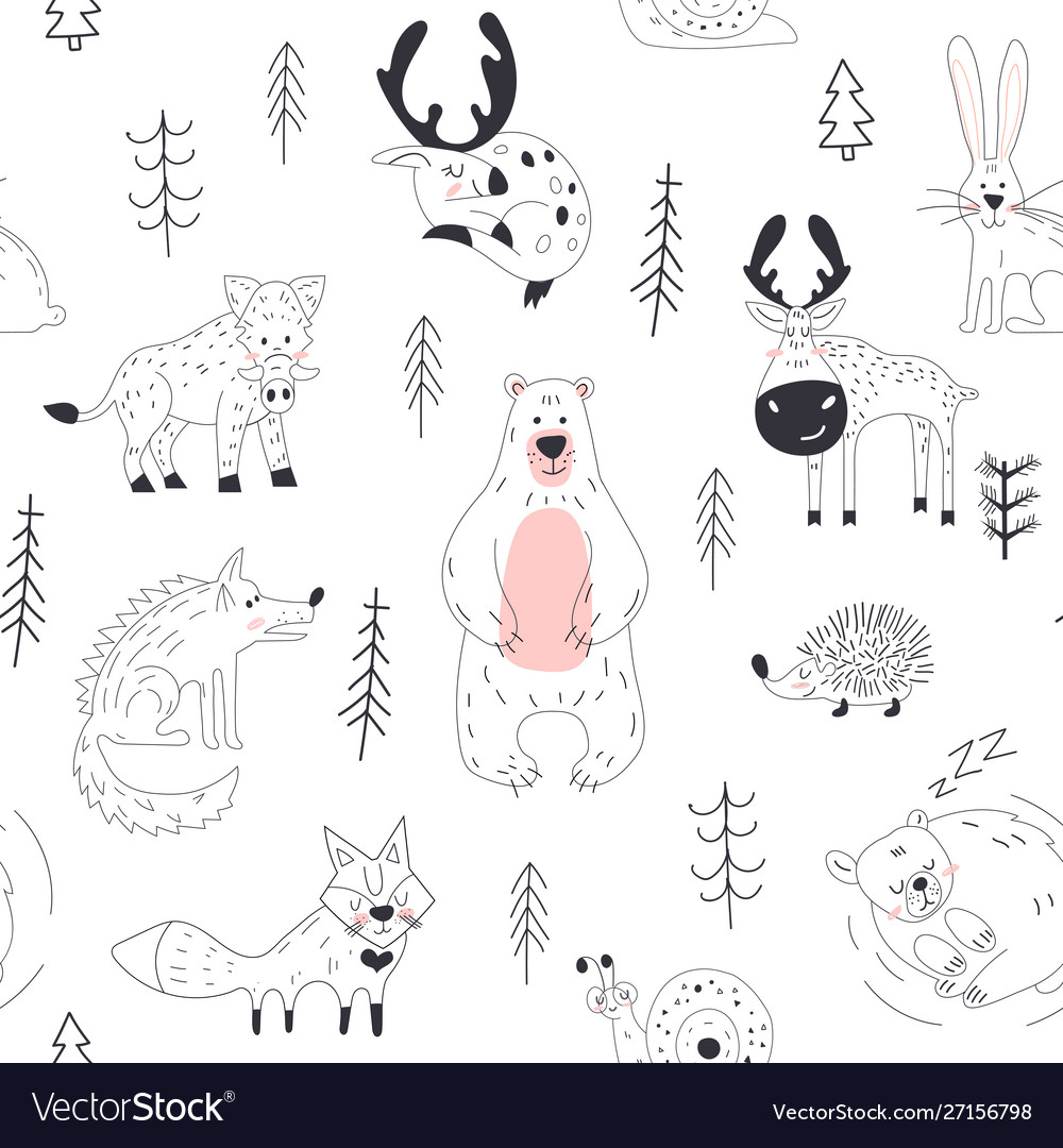 Forest animal seamless pattern woodland childish