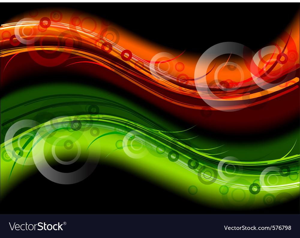 Green and orange dark waves vector image