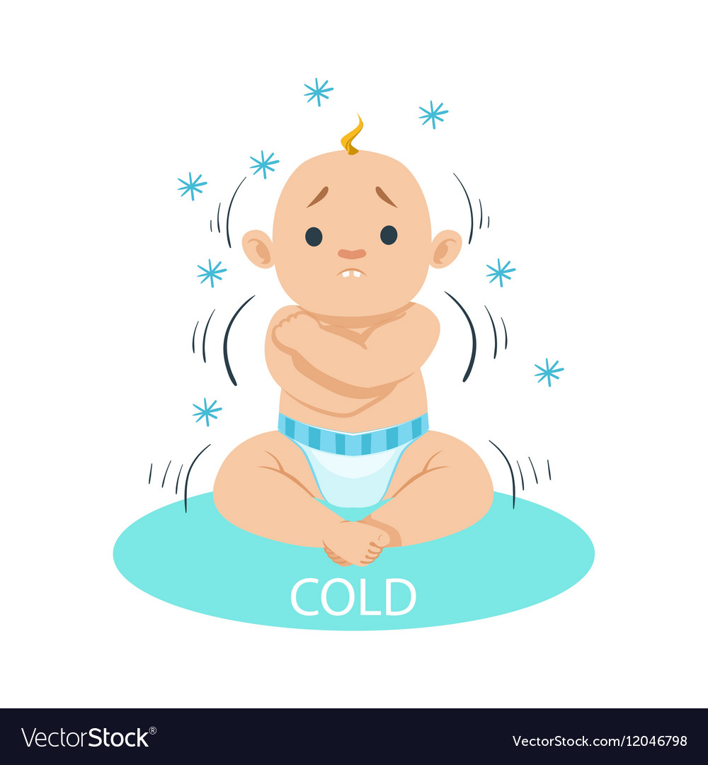 little baby boy in nappy shivering of cold part vector image