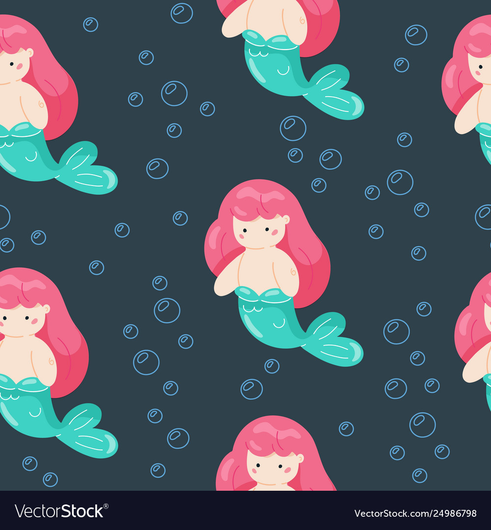 Seamless bagirl swimming little mermaid