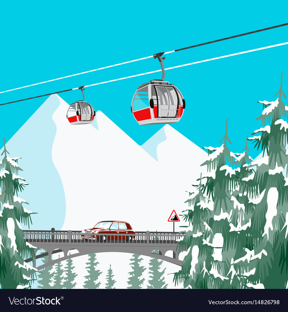 Ski resort in mountains with cable cars and bridge