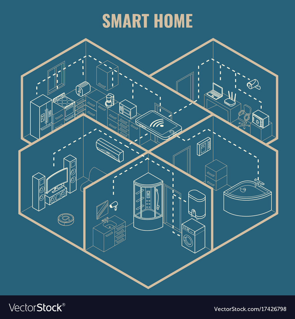 Smart house concept 3d isometric blueprint vector image malvernweather Image collections