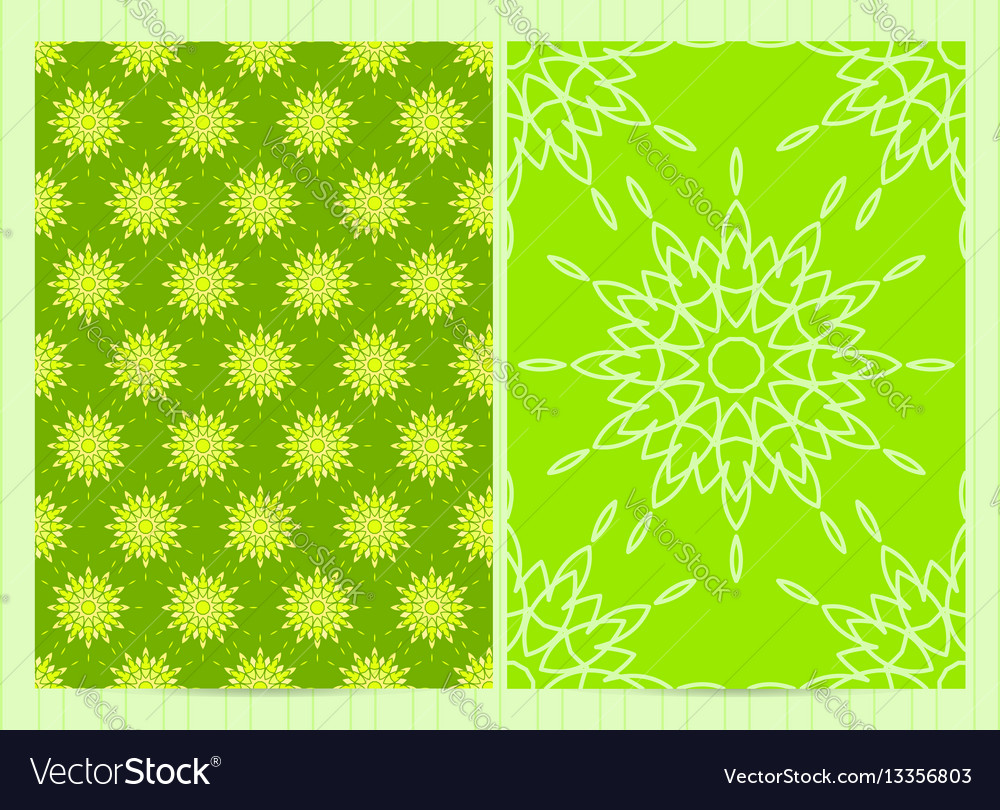 A4 format cards decorated with mandala in green