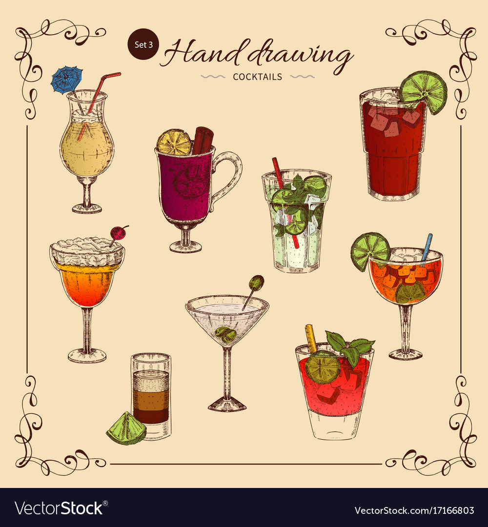 Alcoholic drinks colored collection