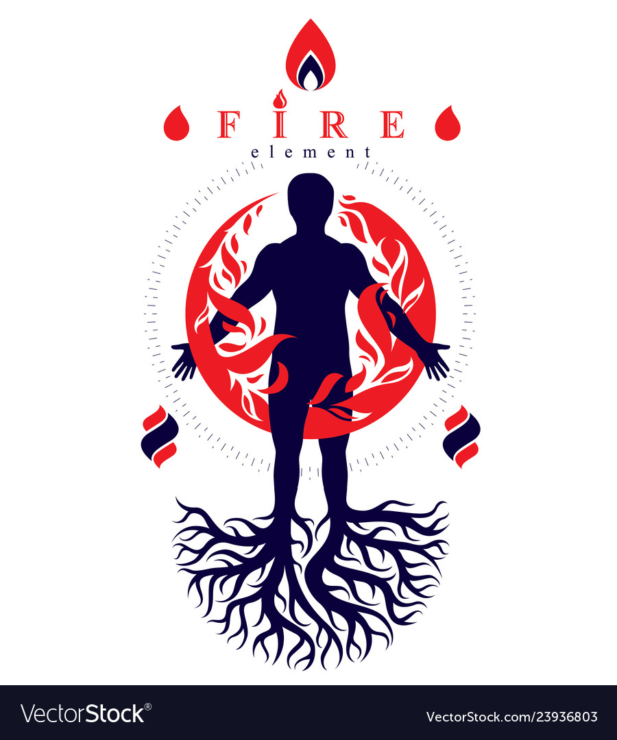 Athletic man composed with tree roots fire person
