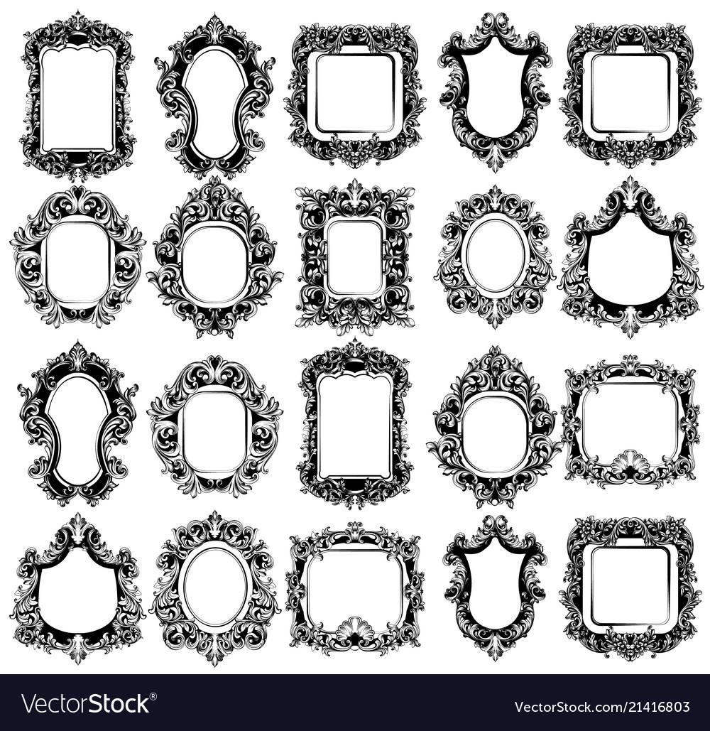 Baroque mirror frames great set collection