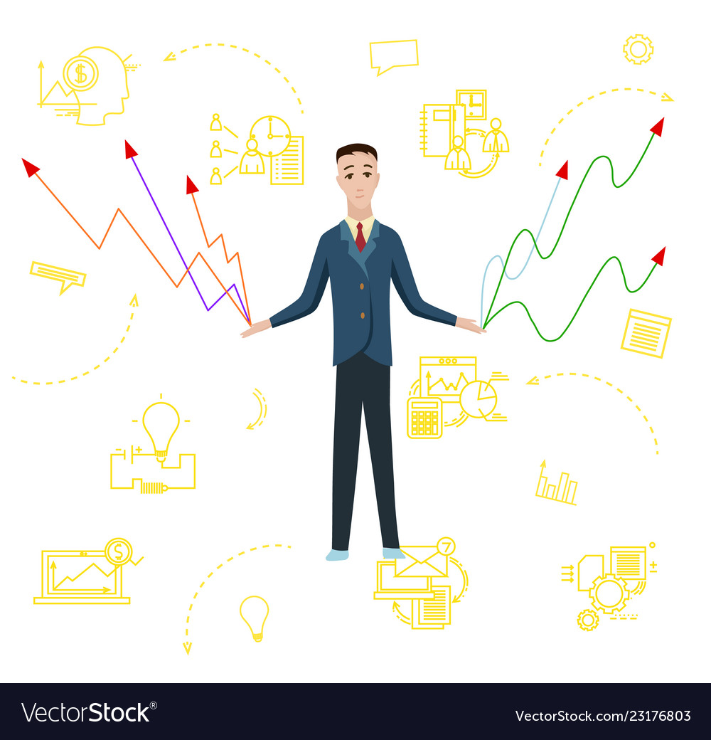 Businessman with charts flat