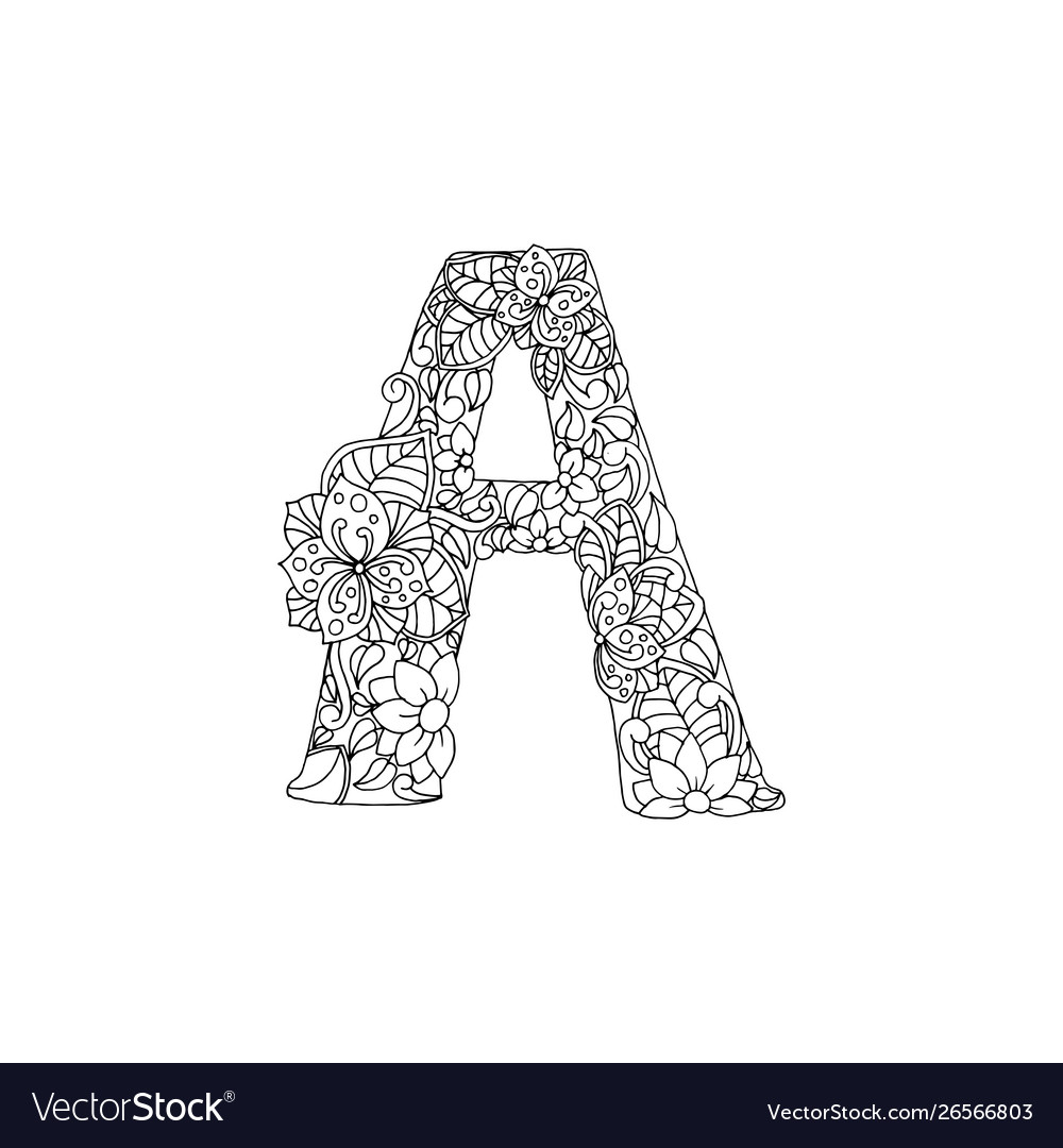 - Coloring Book Ornamental Alphabet Letter A Font Vector Image