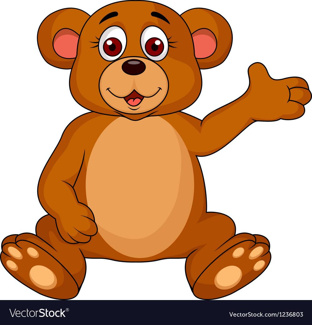 Cute bear cartoon waving vector image