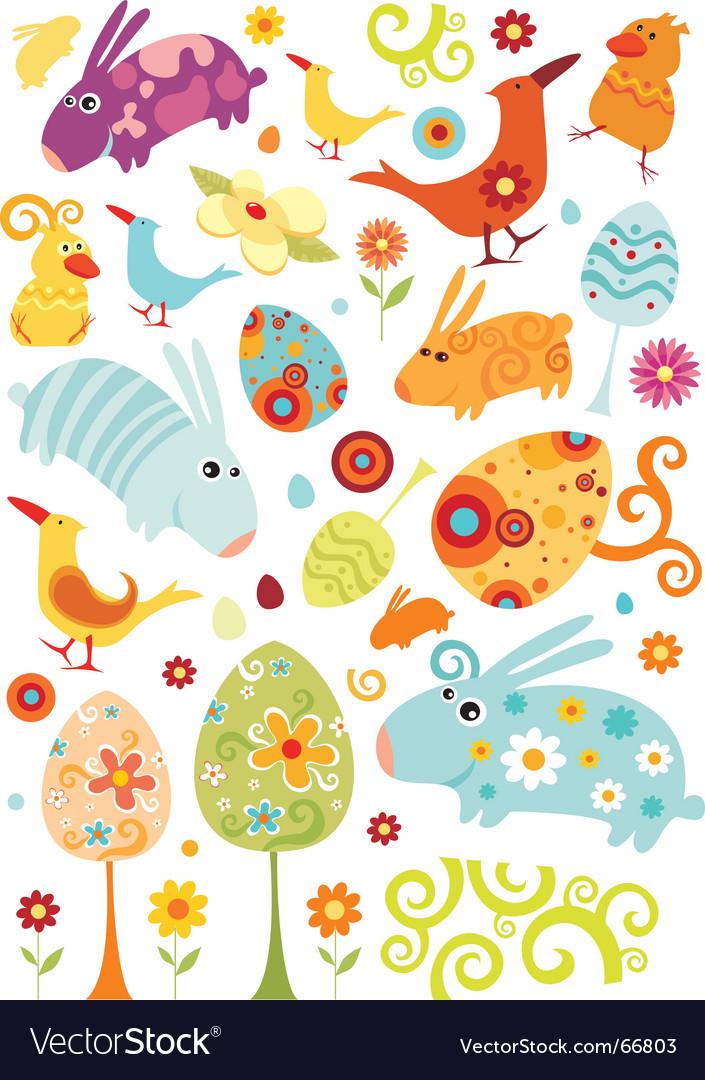 Easter animals set vector image