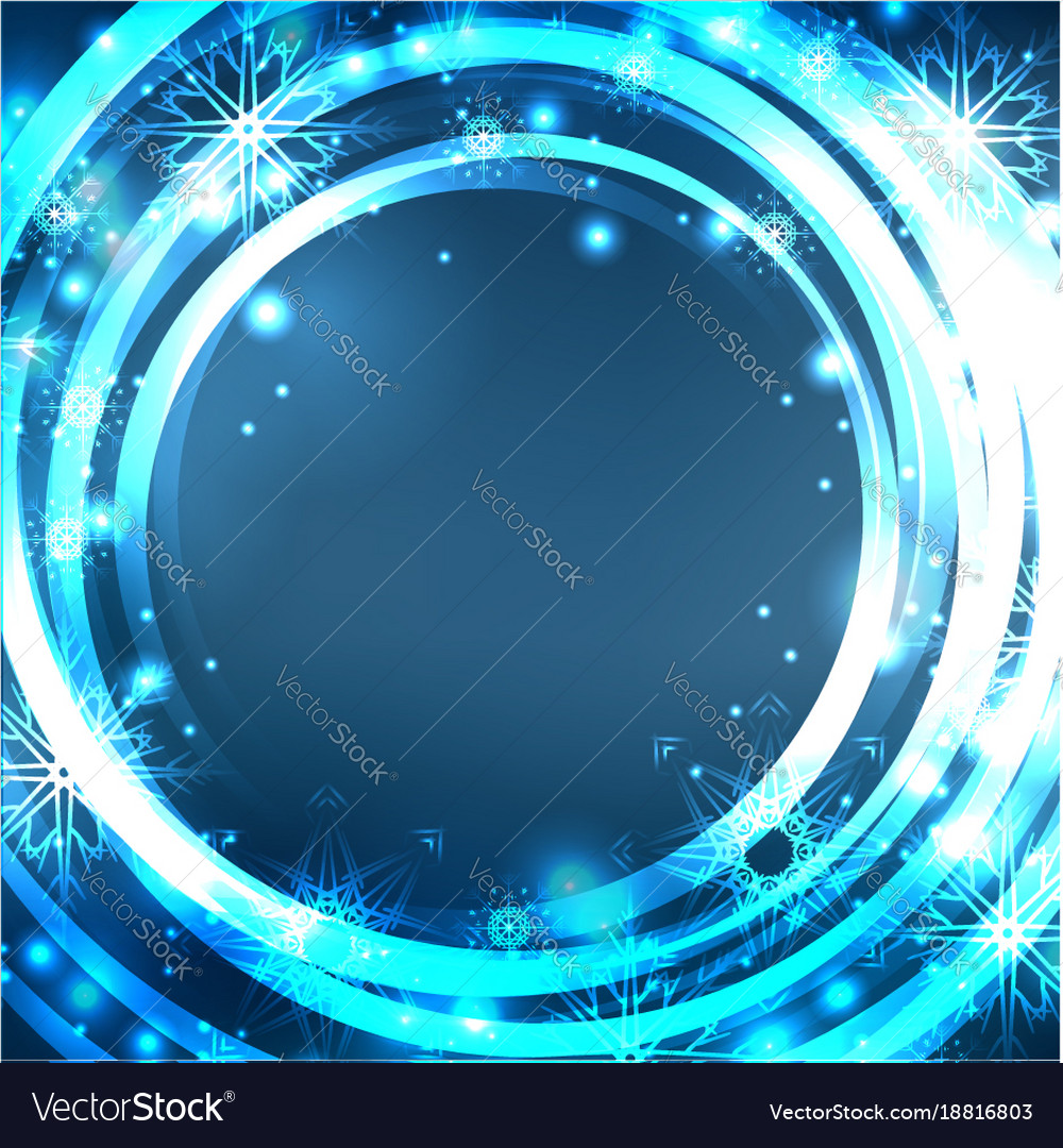 Festive blue postcard with glowing sparkles and