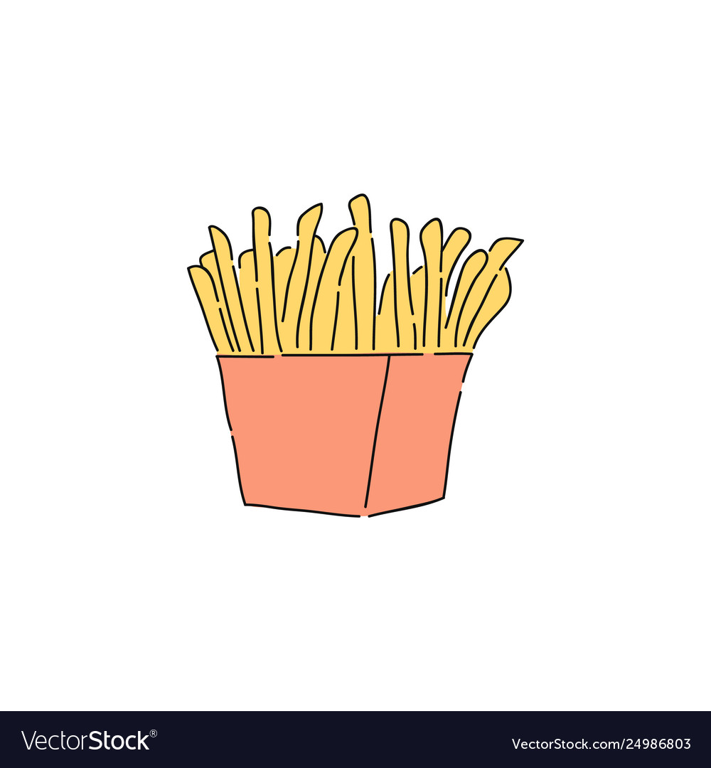 French fries in red carton drawing Royalty Free Vector Image
