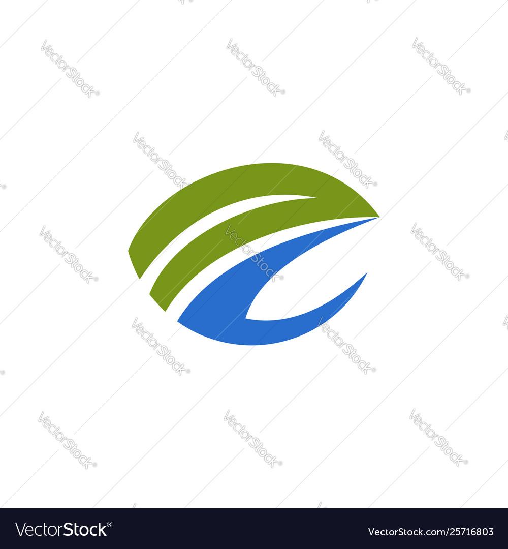 Letter e abstract ecology logo