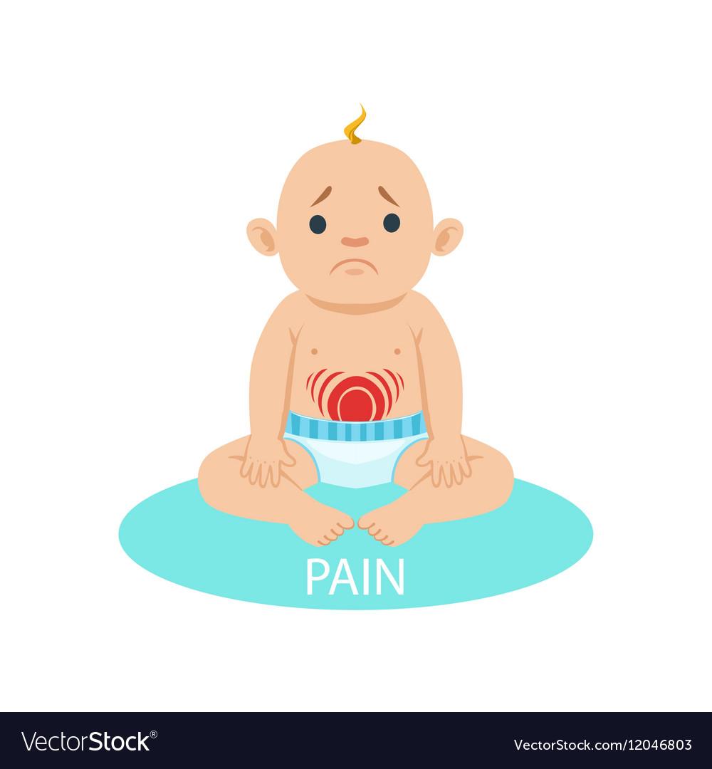 Little Baby Boy In Nappy Having Belly Pain Part