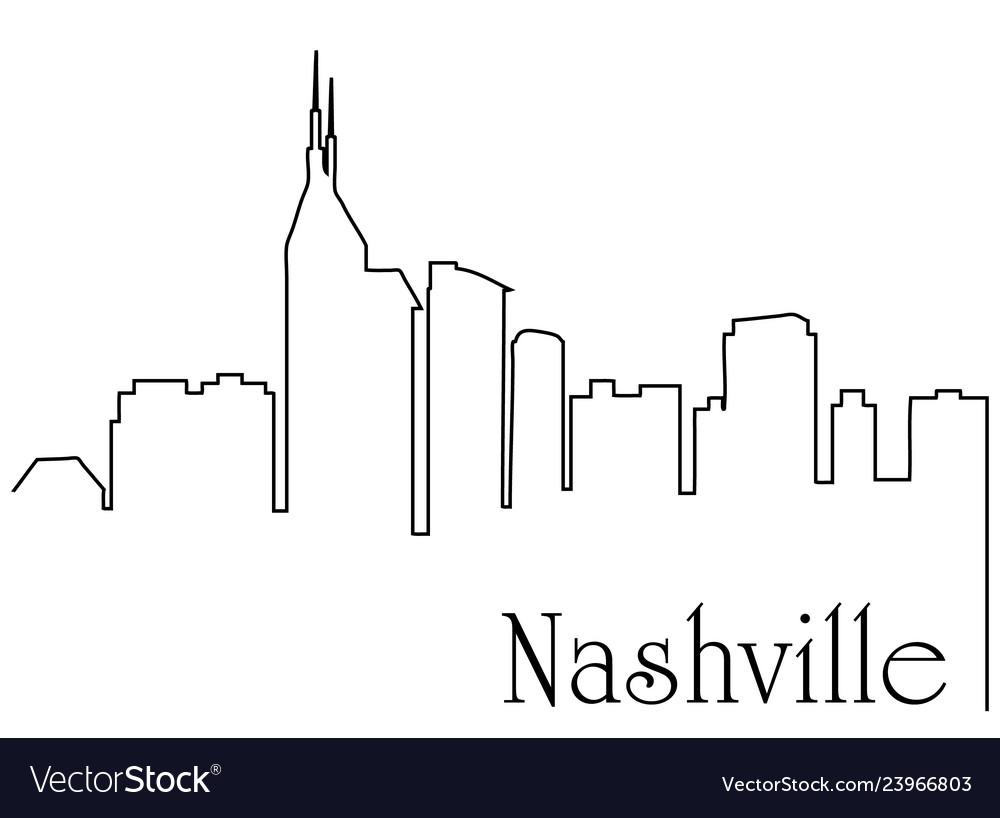 Nashville city one line drawing