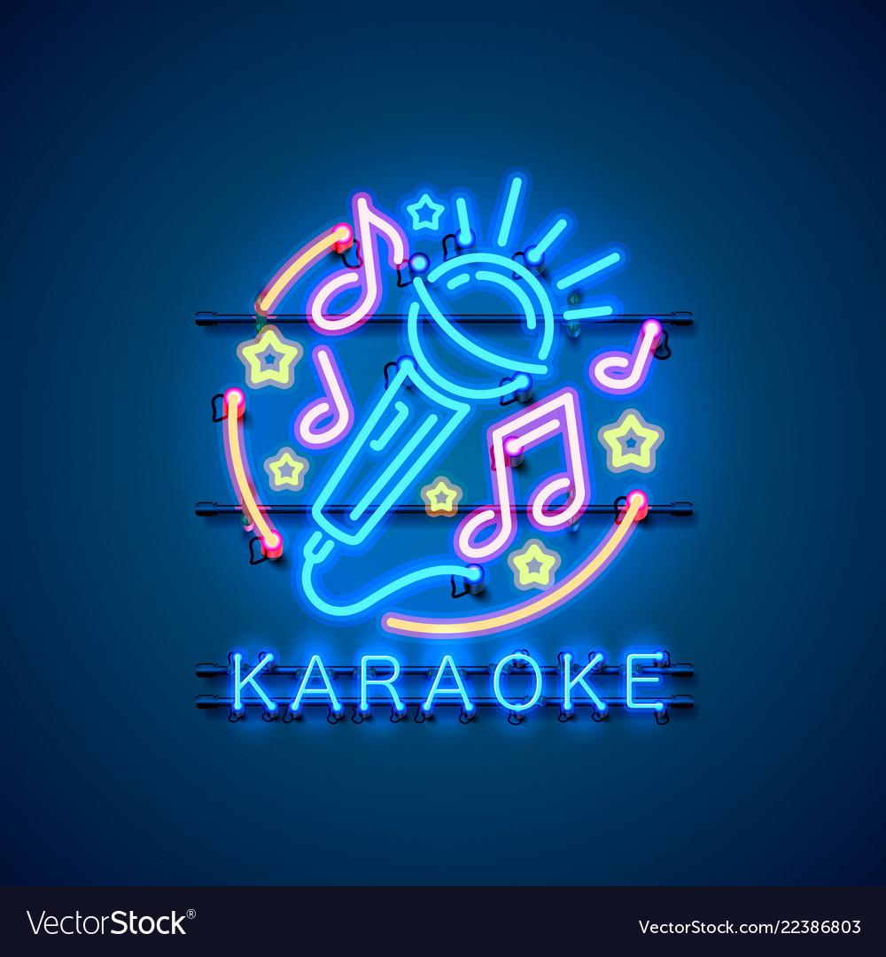 Neon label music karaoke banner