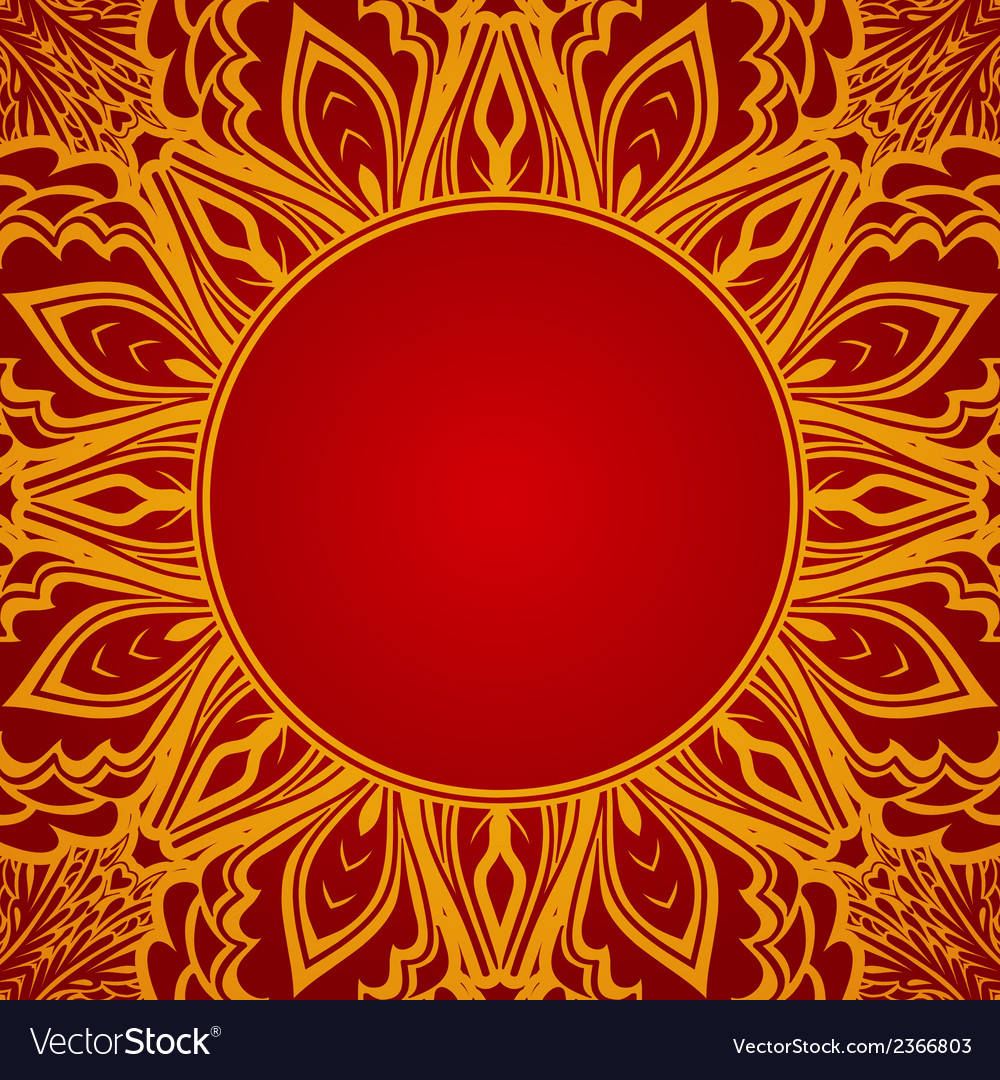 Red background with lace round ornament