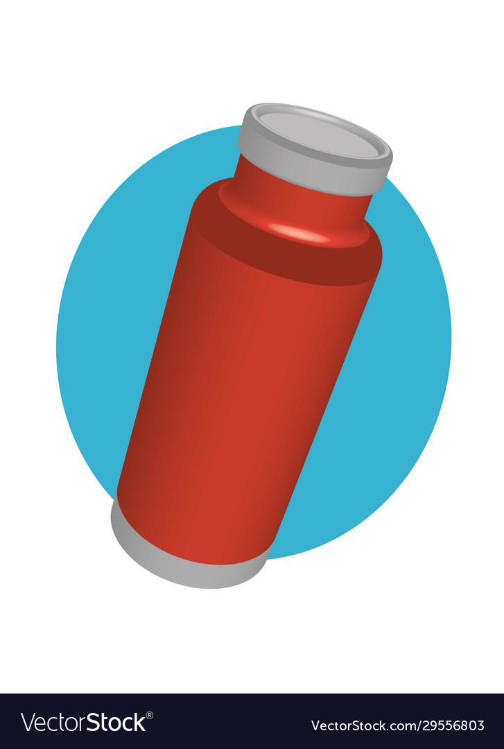 Red coffee thermos in perspective