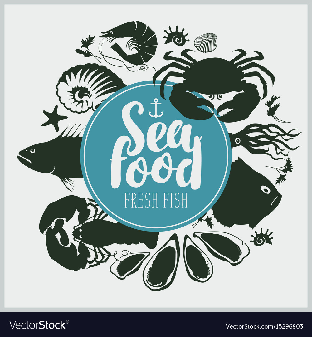 Seafood emblem with sea inhabitants and lettering