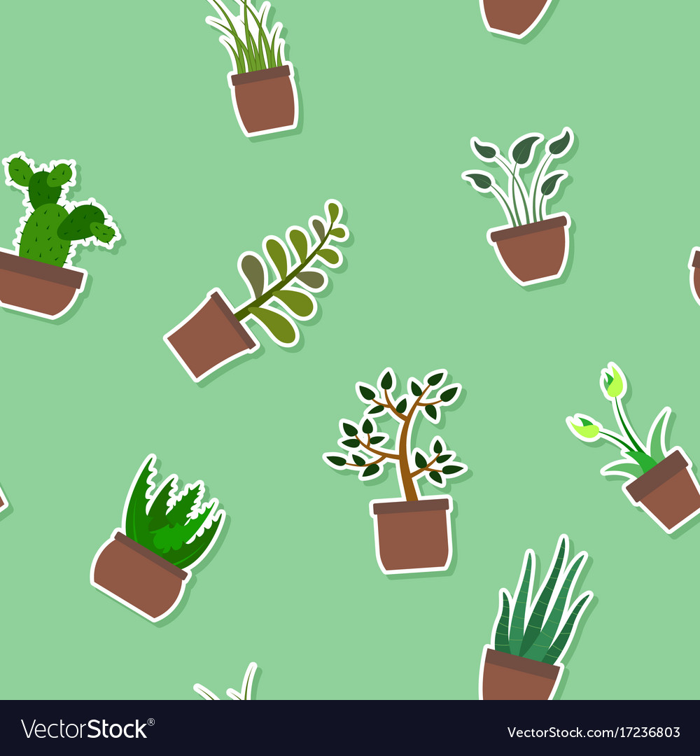 Seamless pattern with house plants icons
