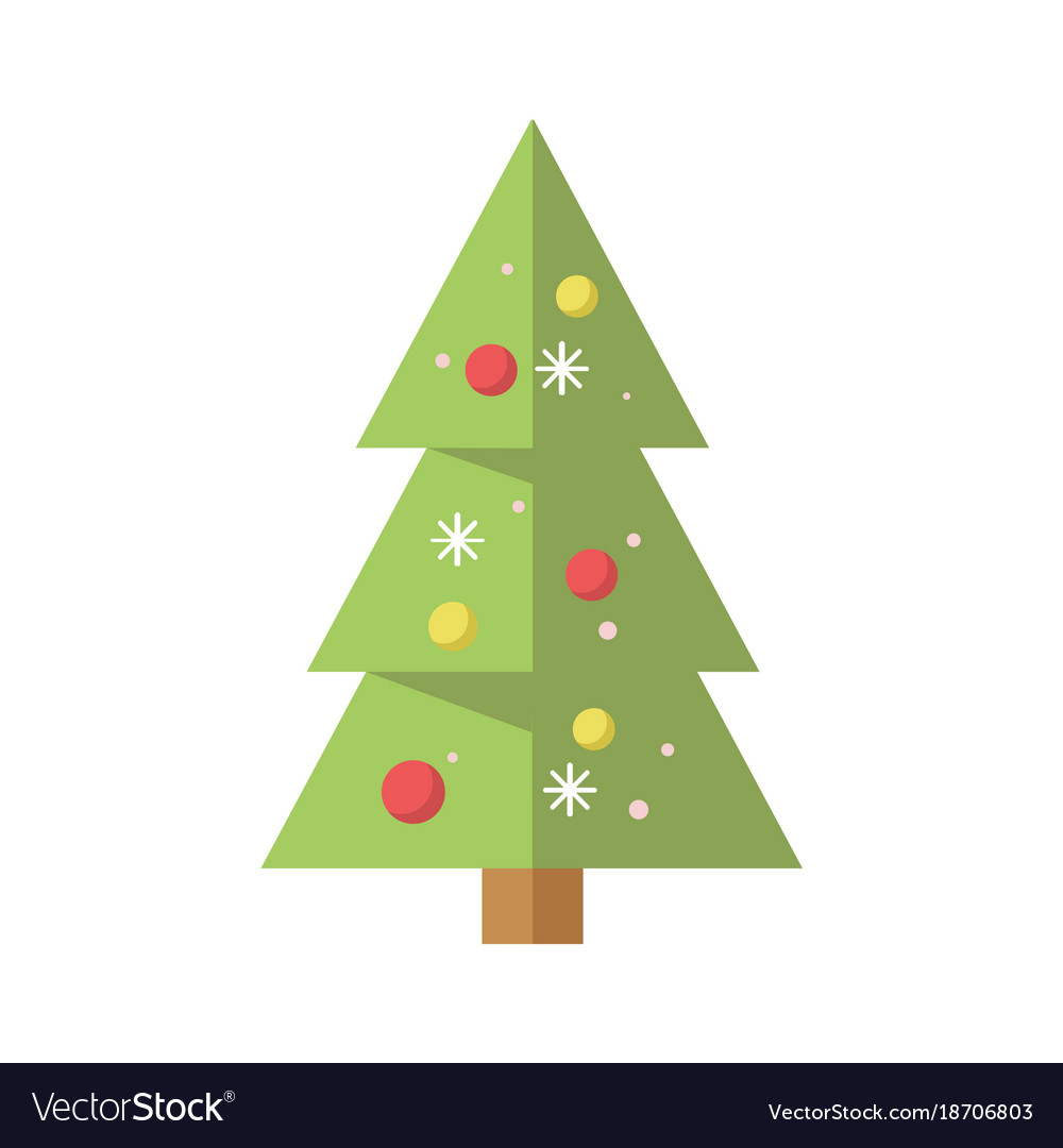 Simple Decorated Cartoon Christmas Pine Tree Vector Image