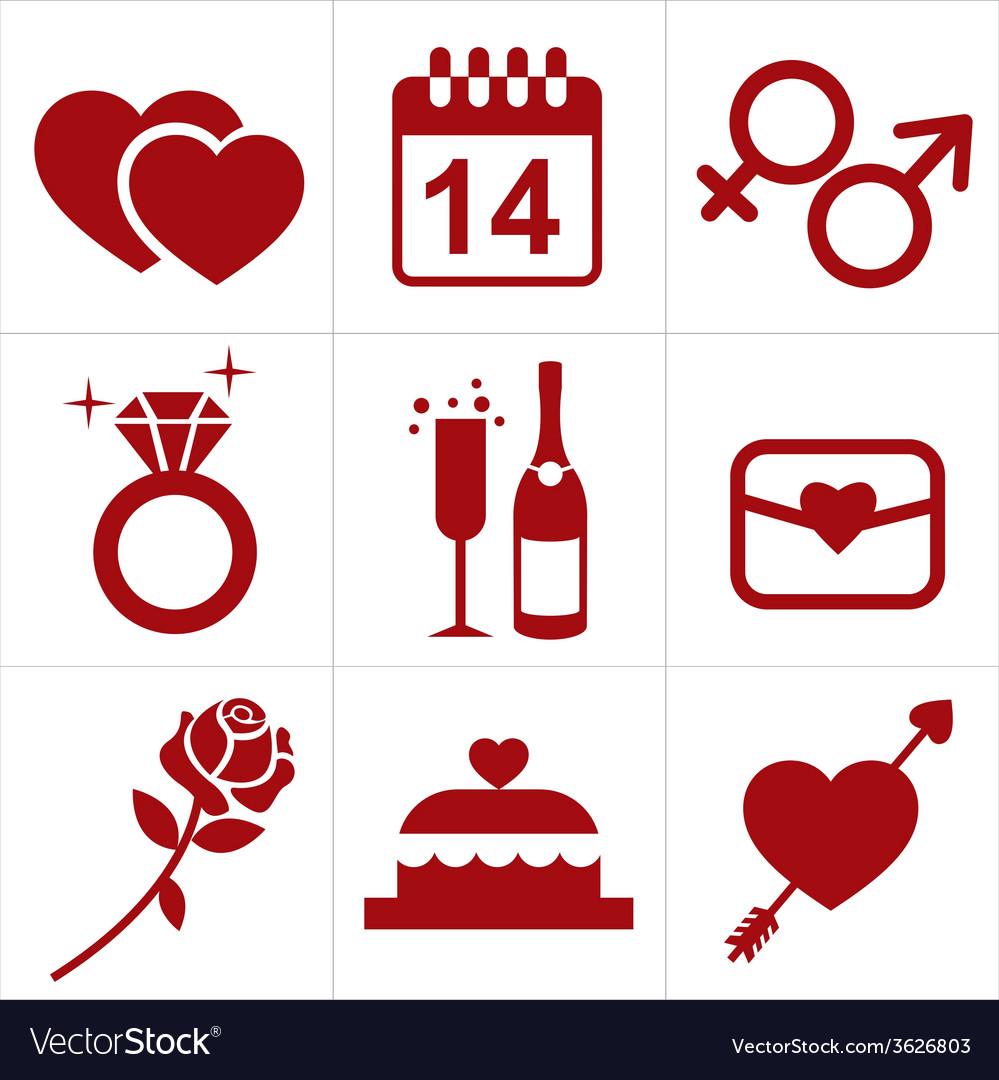 Valentines icon set vector image