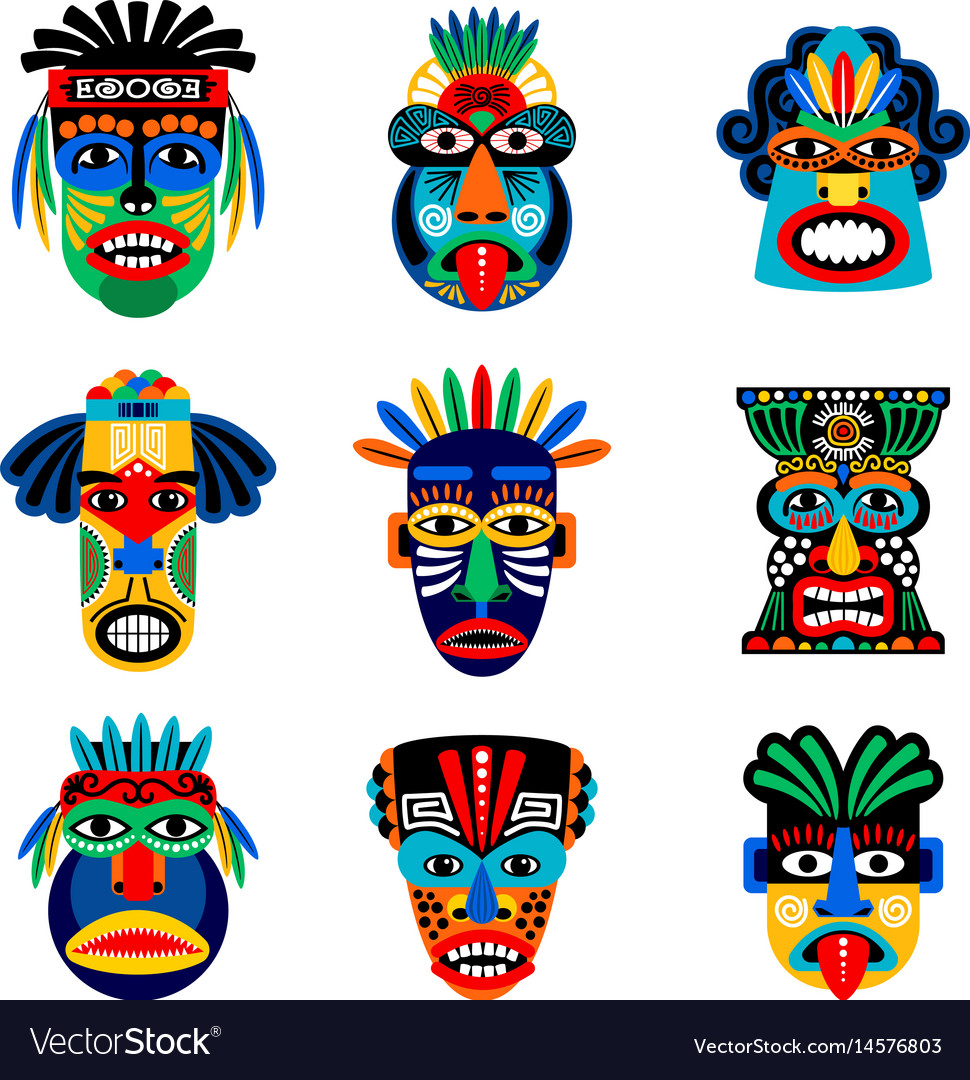 Zulu or aztec mask icons