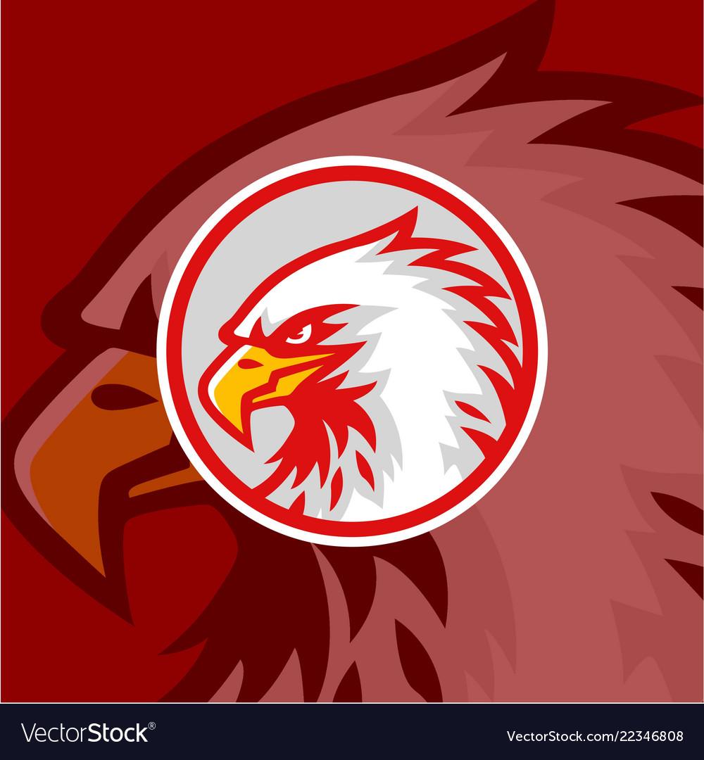 Eagle head red background logo design sign
