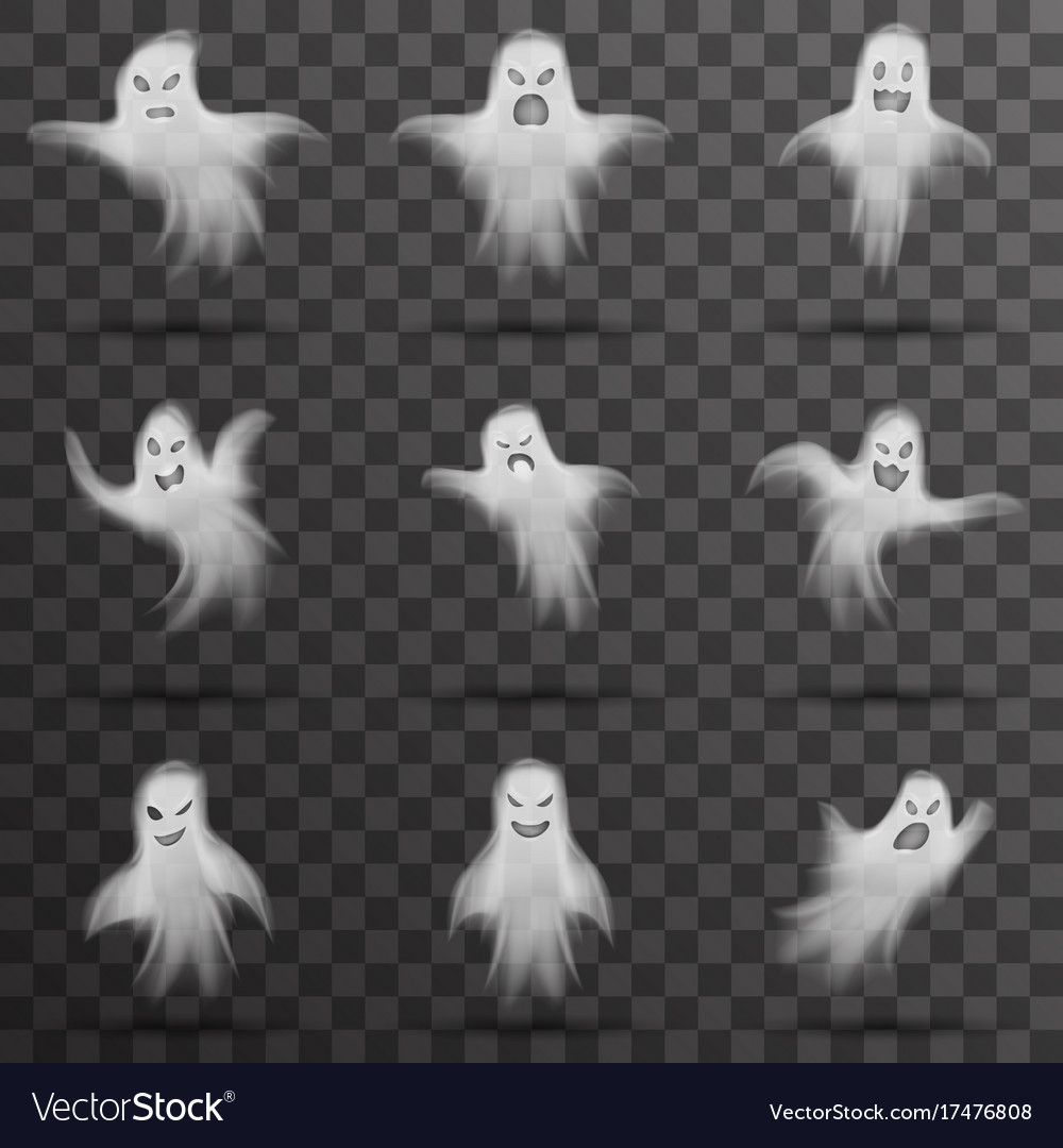 Halloween white scary ghost isolated template