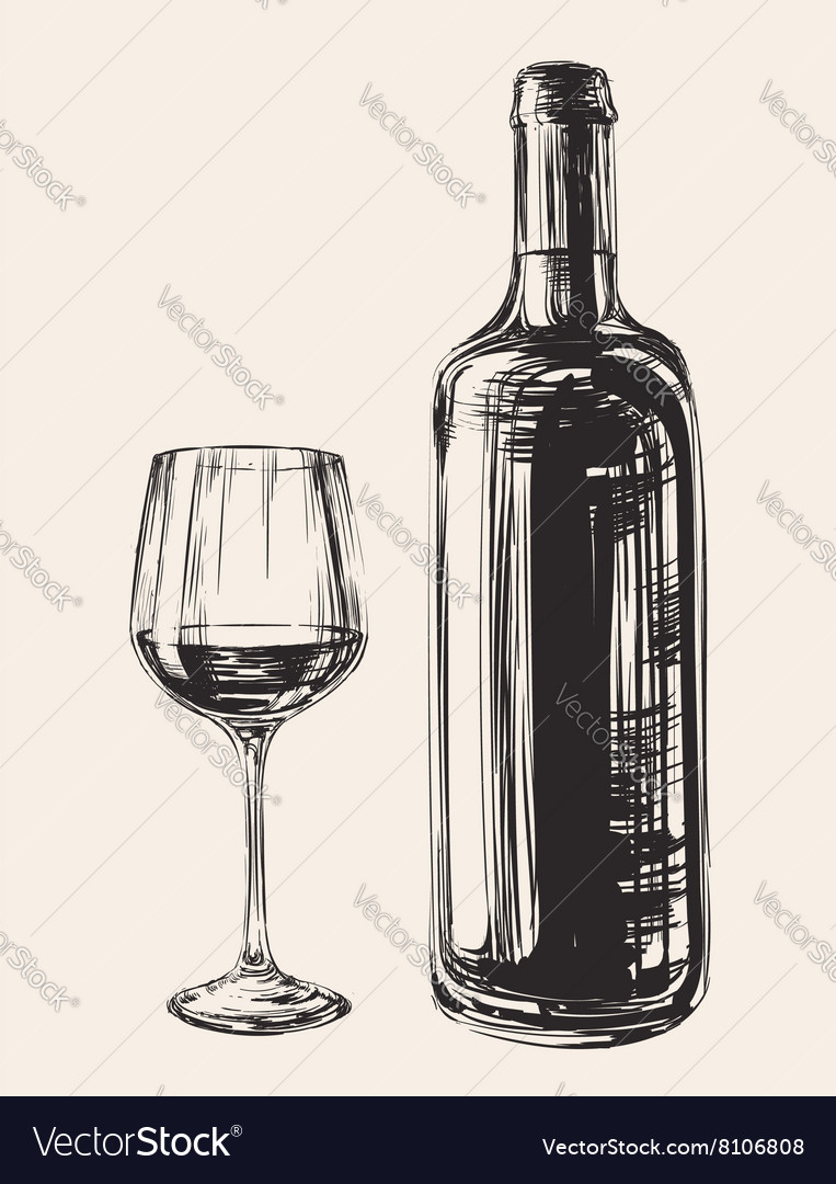 Hand Drawn Wine Glass And Bottle Royalty Free Vector Image