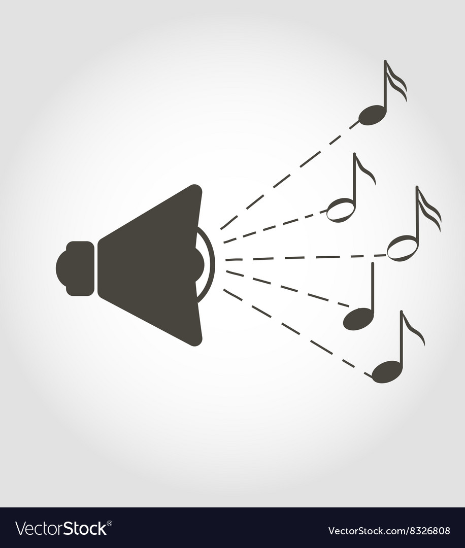 Speaker and notes sound icon