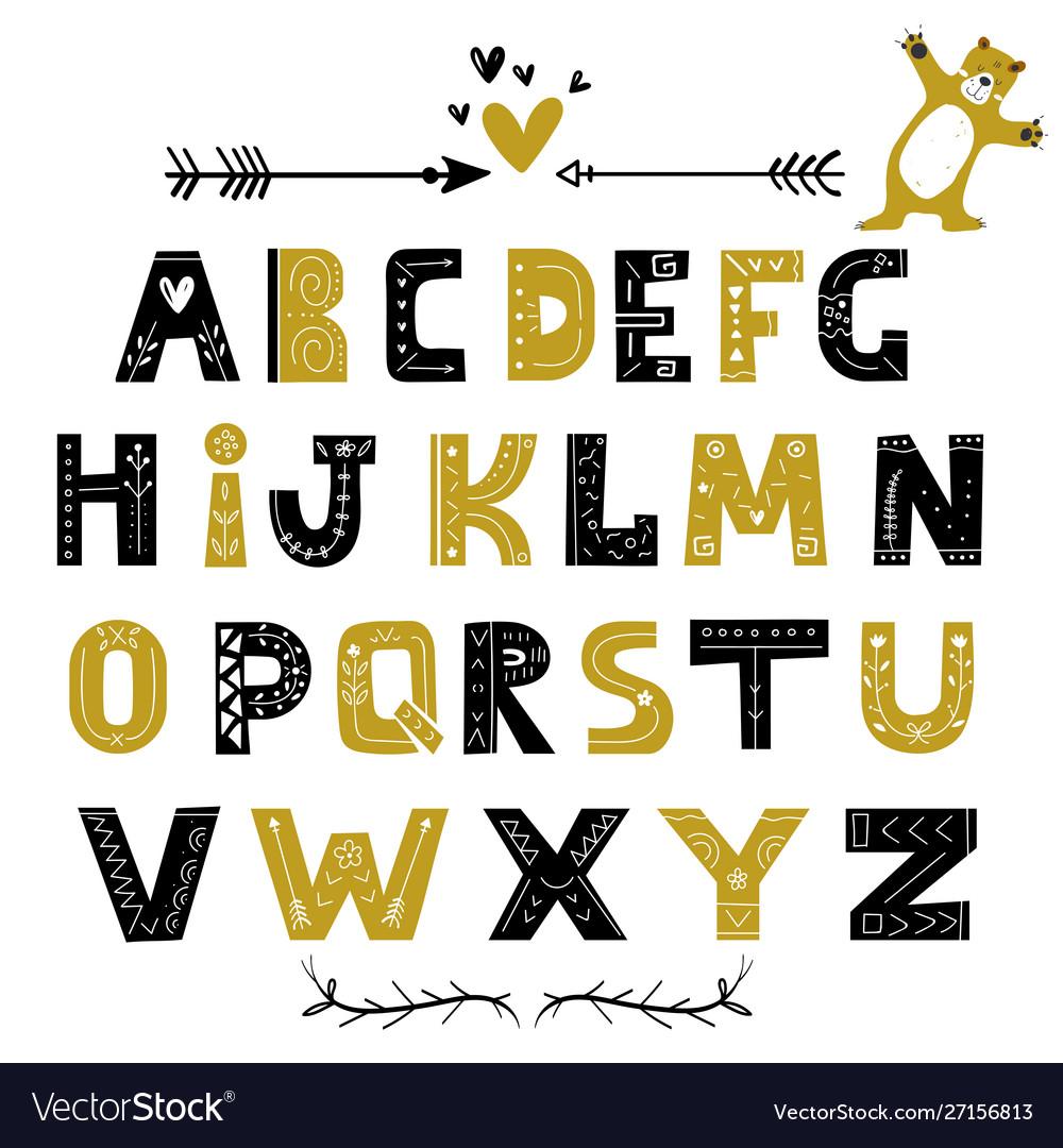 Abstract stylish alphabet in scandinavian style