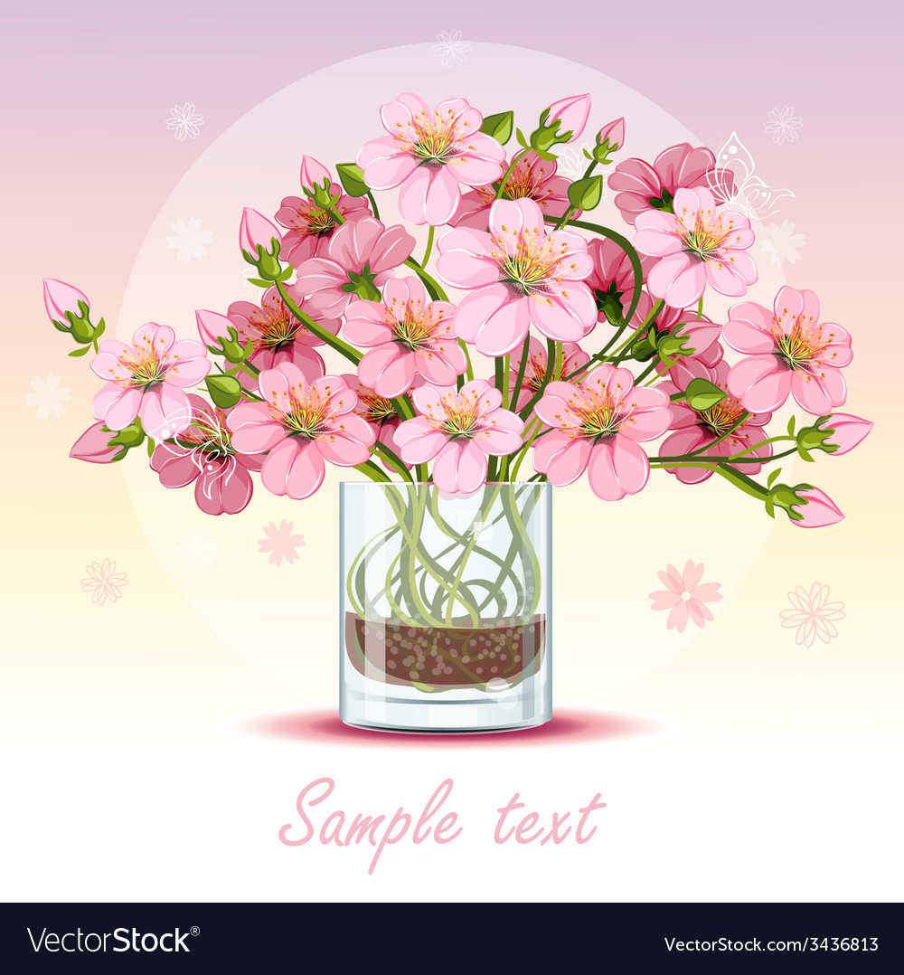 Background with cherry blossom in a glass vector image
