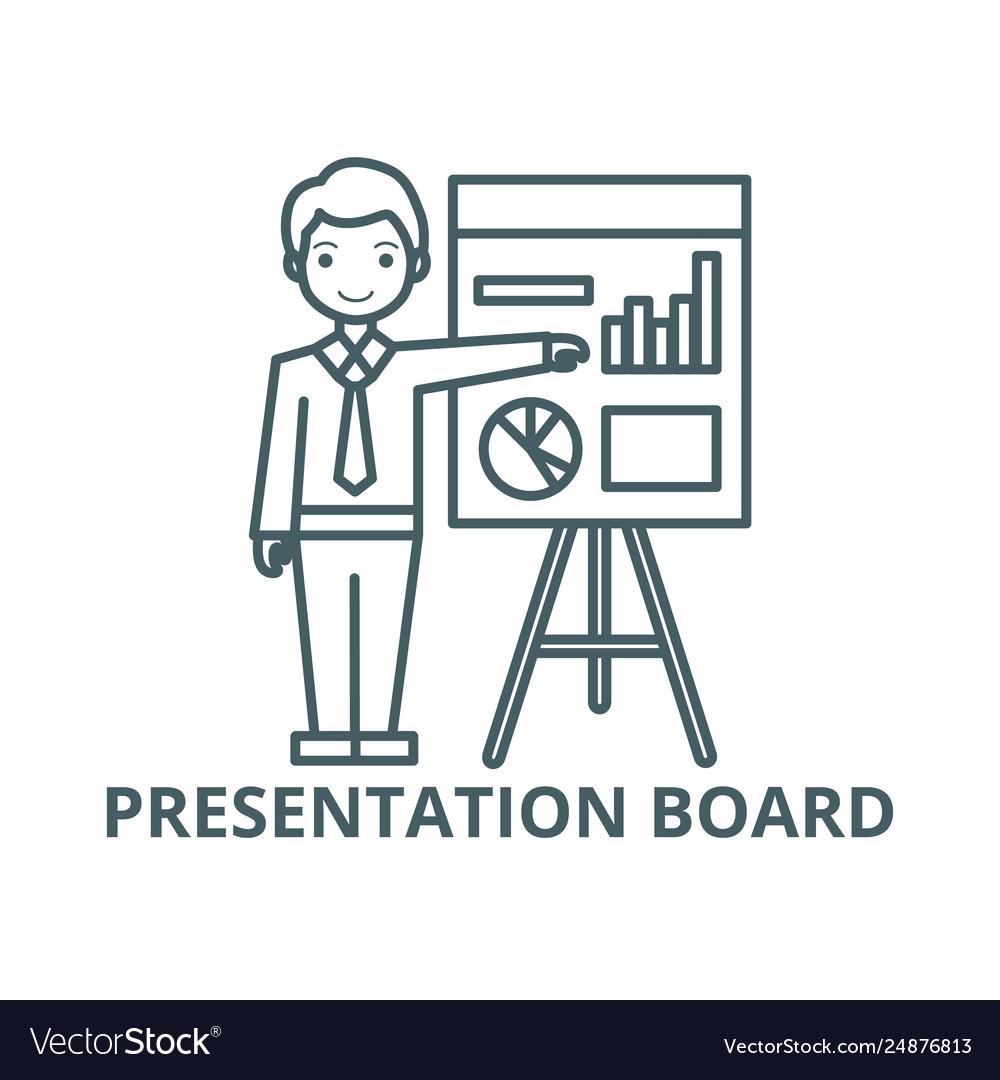 Businessman showing presentation board line icon