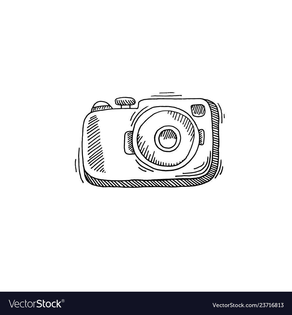 Camera sketch drawing icon summer themed