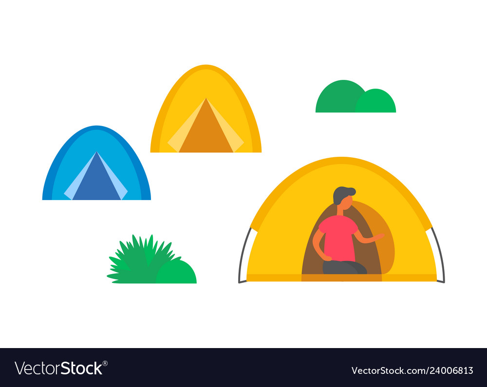Camping city camps and green grass or bushes