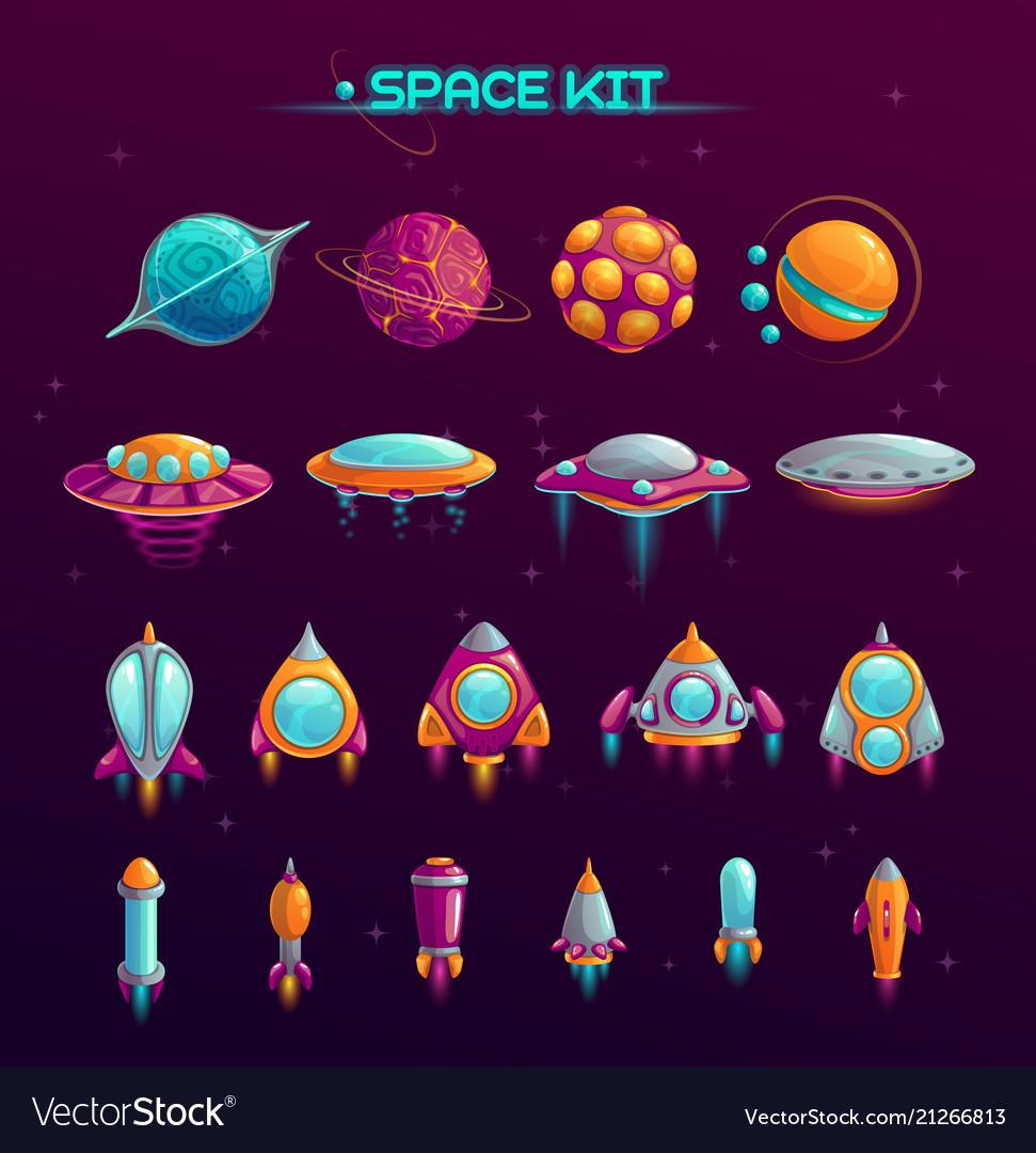 Cartoon space war concept