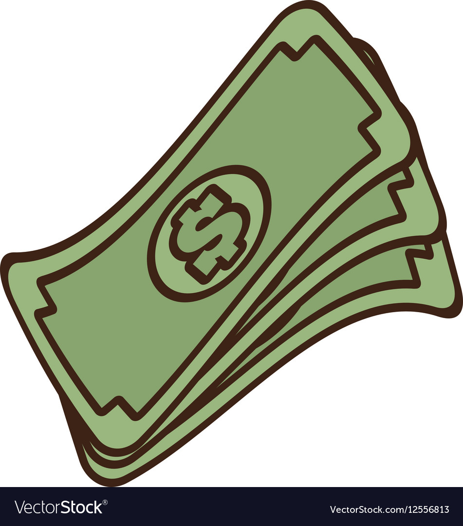Cartoon stack money dollar bills cash