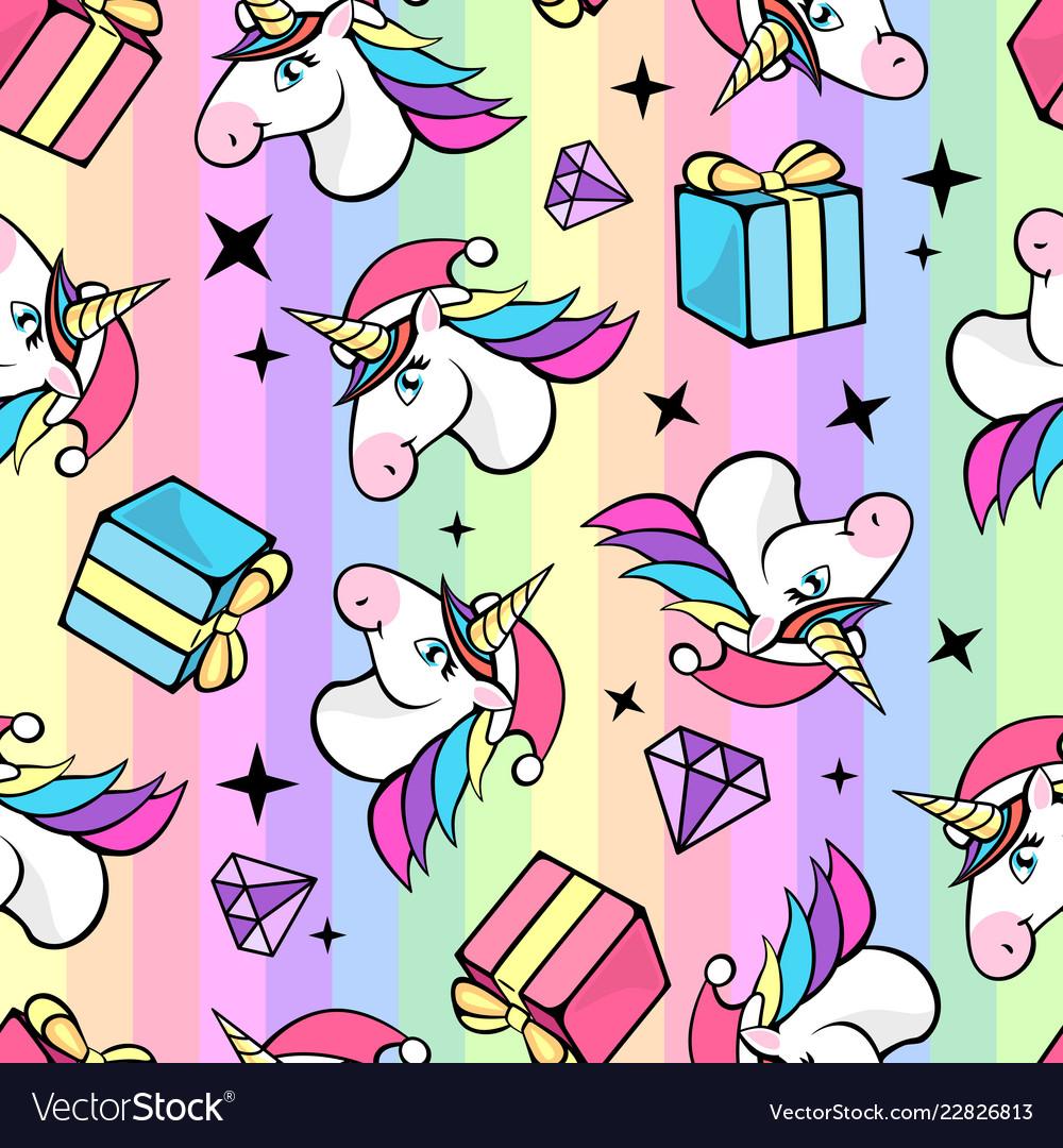 Christmas seamless pattern with fantastic unicorn
