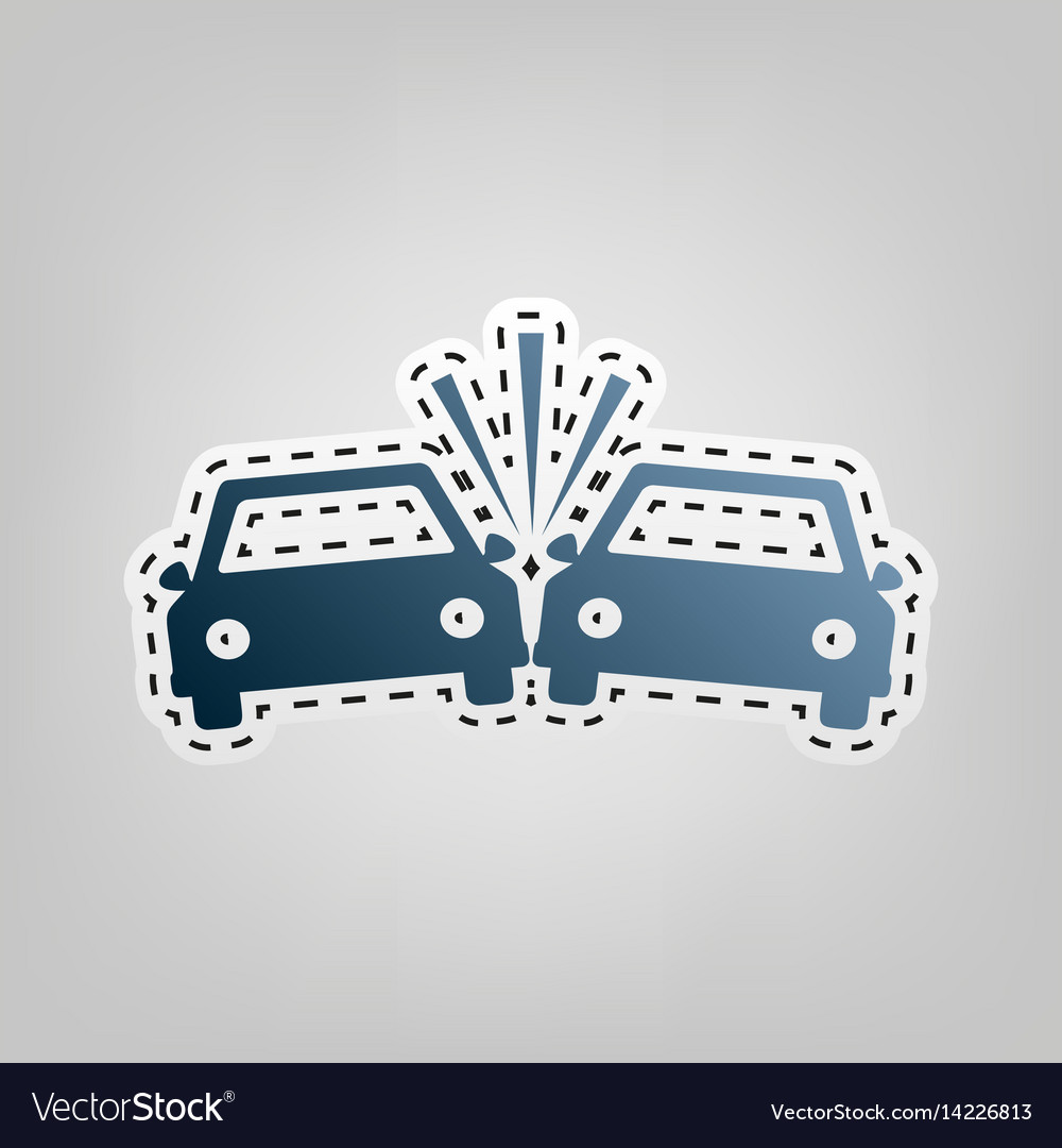 Crashed cars sign blue icon with outline