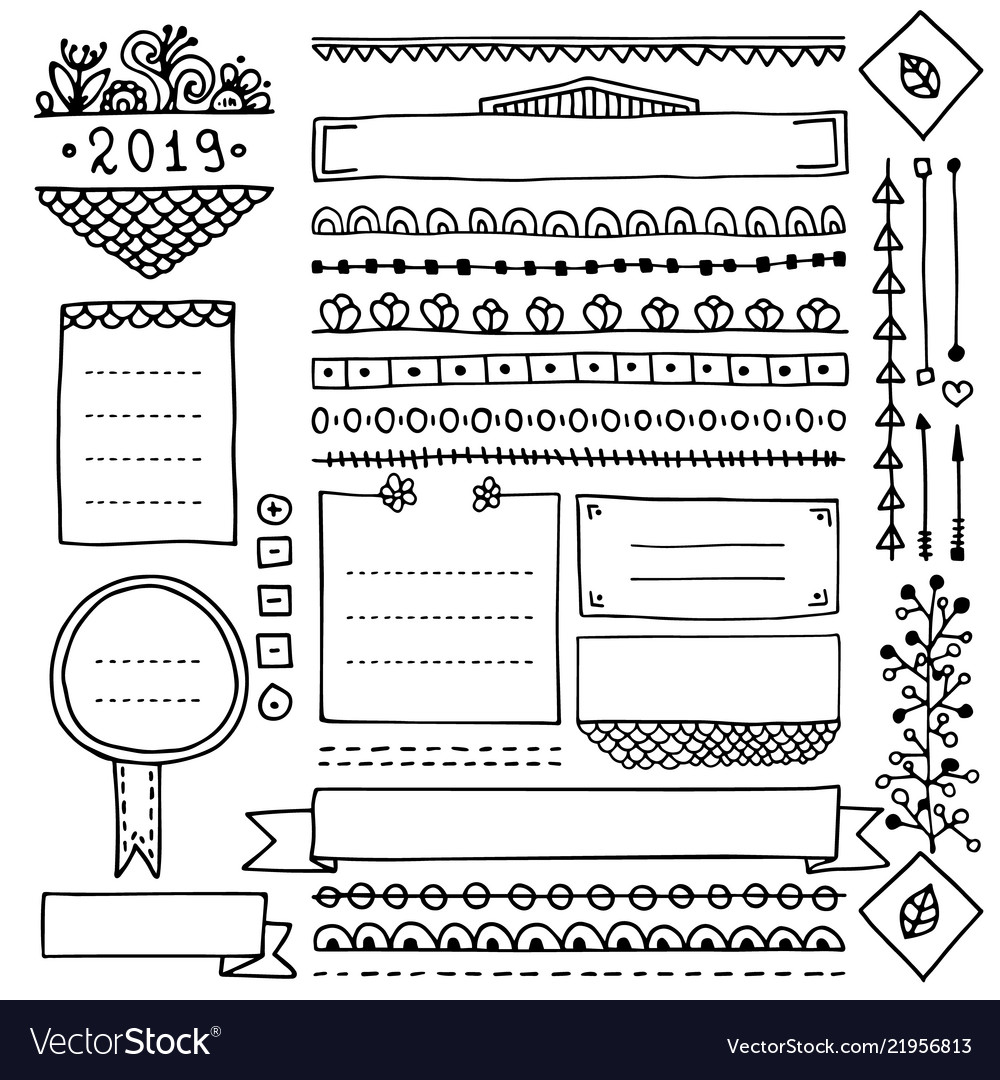 Cute frames and doodle design elements for planner
