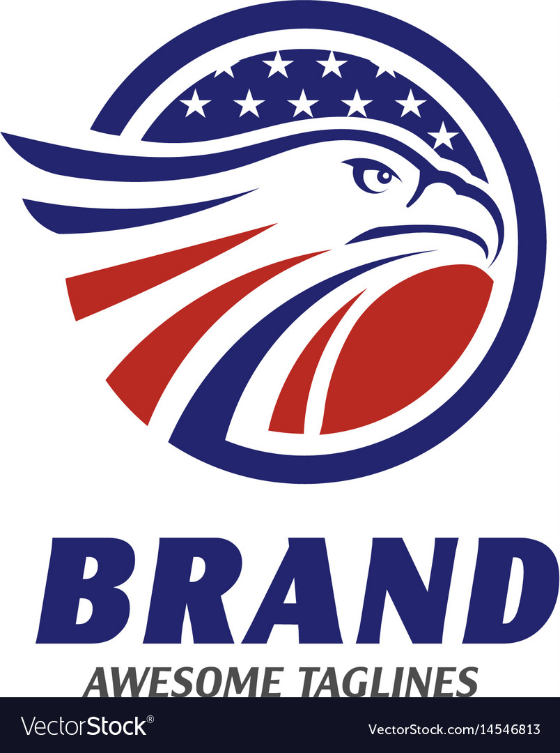 Eagle heads circle with stars logo
