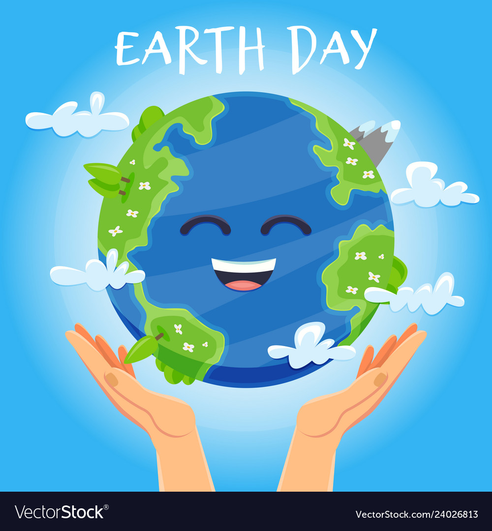 Earth day concept human hands holding floating