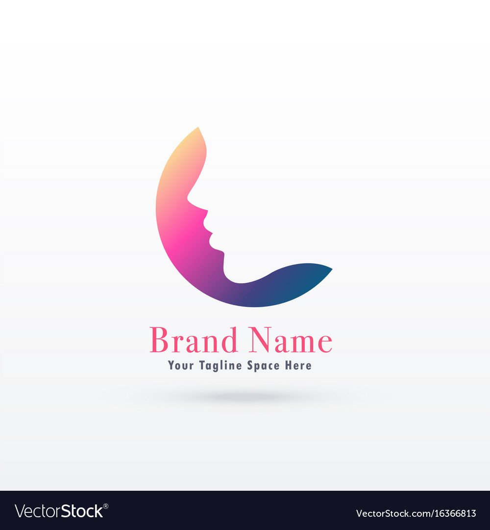 Feminism logo concept with girl or woman face vector image