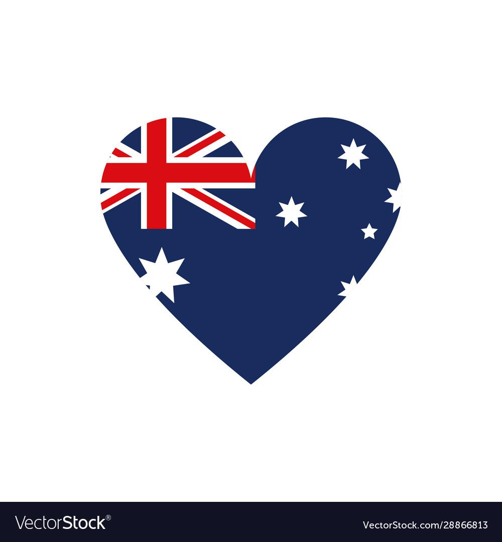 Flag shape heart symbol australia icon on white